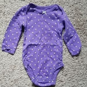 Purple polka dot onesie